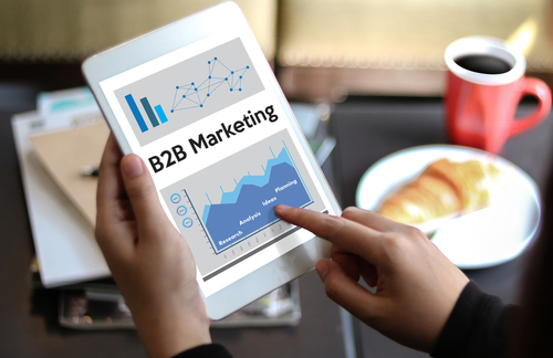 "Tablet with ""B2B Marketing"" displayed on it."