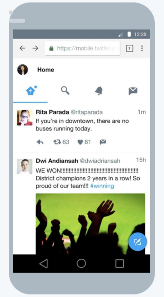 Twitter Lite on mobile phone screen