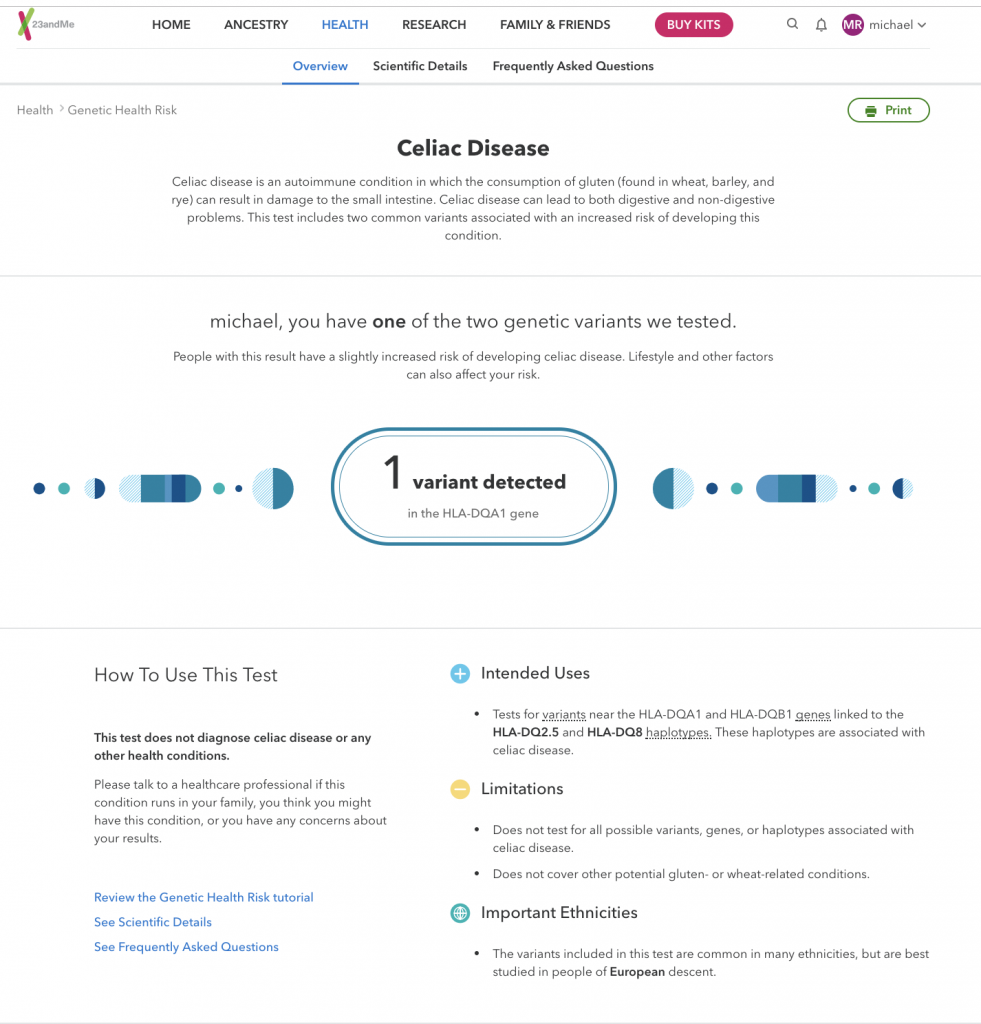 Screenshot of 23andMe dashboard