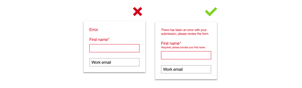An image showing the incorrect way to display an error, and one showing the correct way with descriptions.