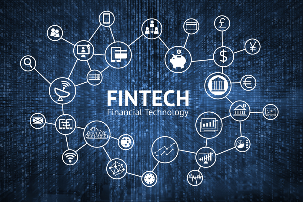 "Interconnected lines with the word ""Fintech"" in the middle"