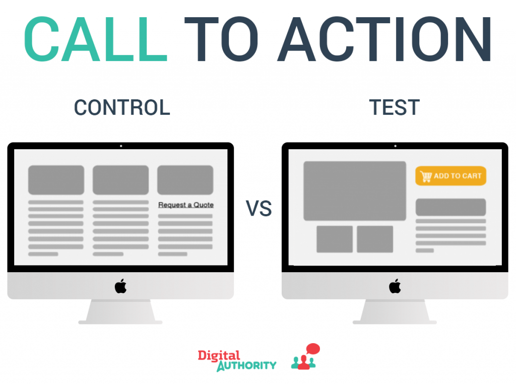 An a/b and multivariate experiment with a call to action