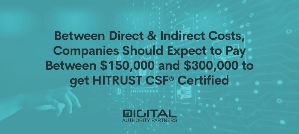 Web banner that reads: Between direct and indirect costs, companies should expect to pay between $150,000 and $300,000 to get HITRUST CSF® certified