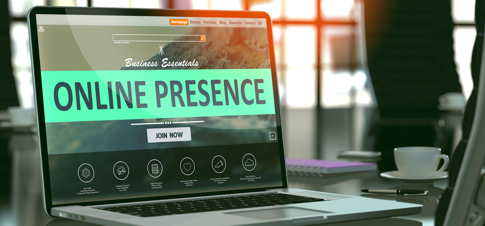 "Desktop displaying the words  ""online presence"""