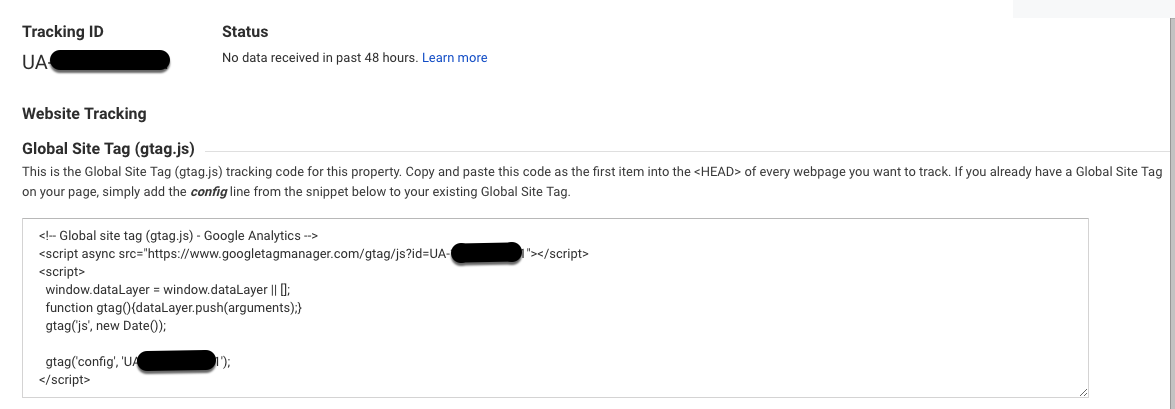 Screenshot of Google Analytics set up showing website tracking code