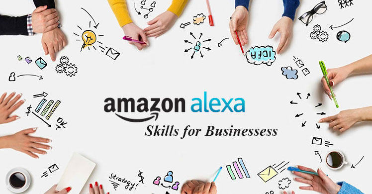 """An image that displays the text """"Amazon Alexa Skills for Business"""" while surrounded by hands."""