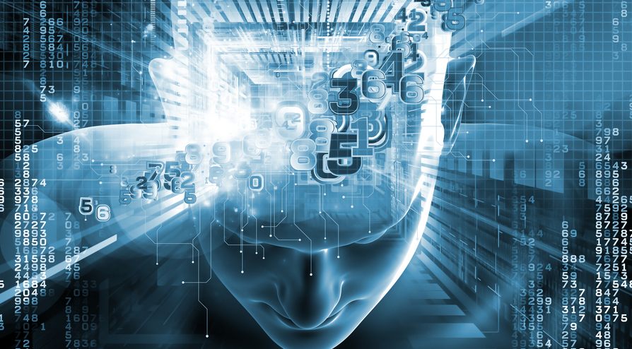 A man with numbers on his head in a technological environment