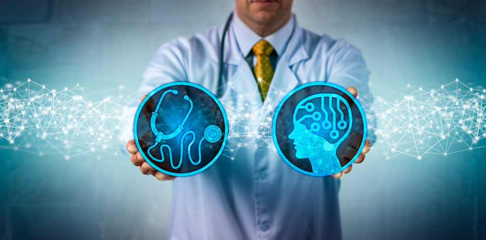 Physician holding logos of a stethoscope and artificial intelligence