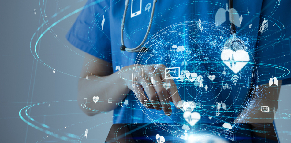 Physician with a sphere full of technology and healthcare points.
