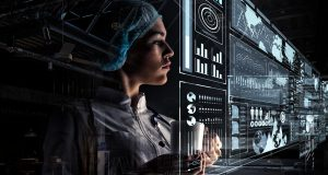 Doctor looking at healthcare data analytics