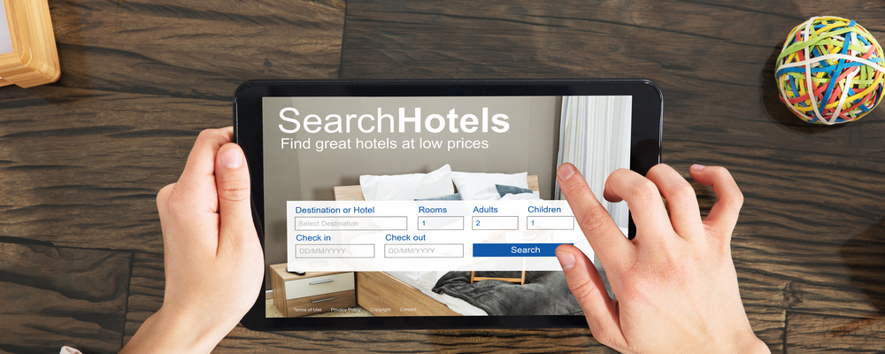 Tablet displaying an application to search for hotels.