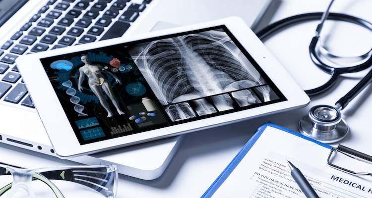 Medical data shown on a tablet device