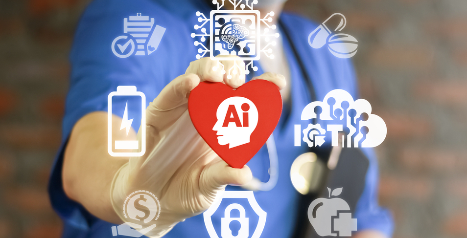 """Physician holding a heart that has """"Ai"""" written in it while surrounded by other graphic logos."""