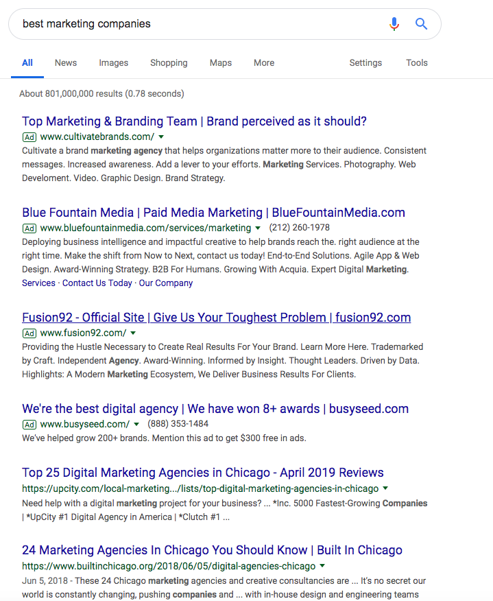 A google search of Best Marketing Companies.