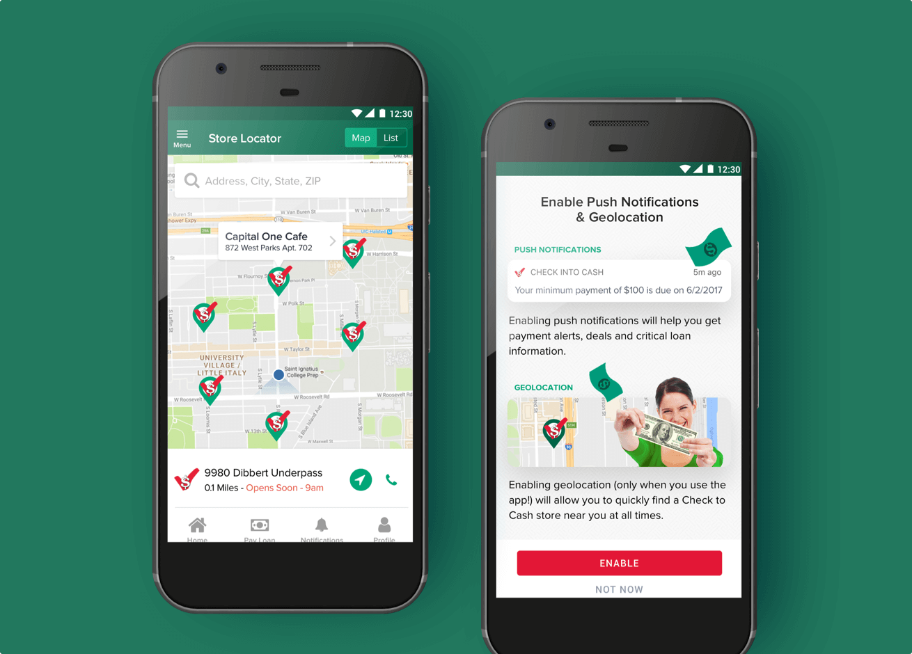 The Check Into Cash app shown on two mobile screens