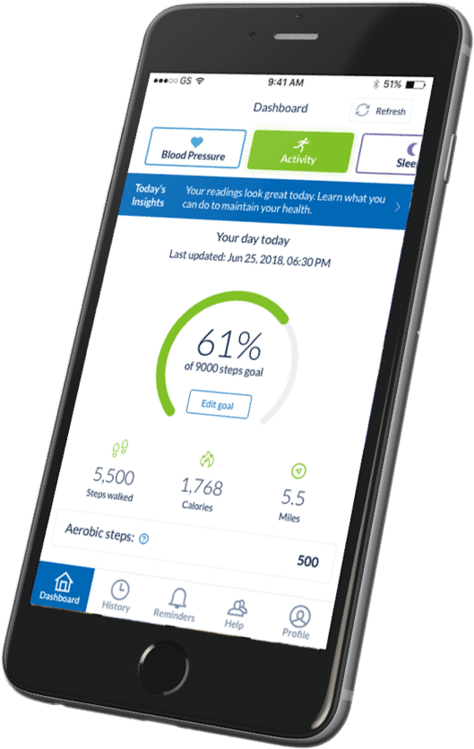 Omron app dashboard displayed on mobile device