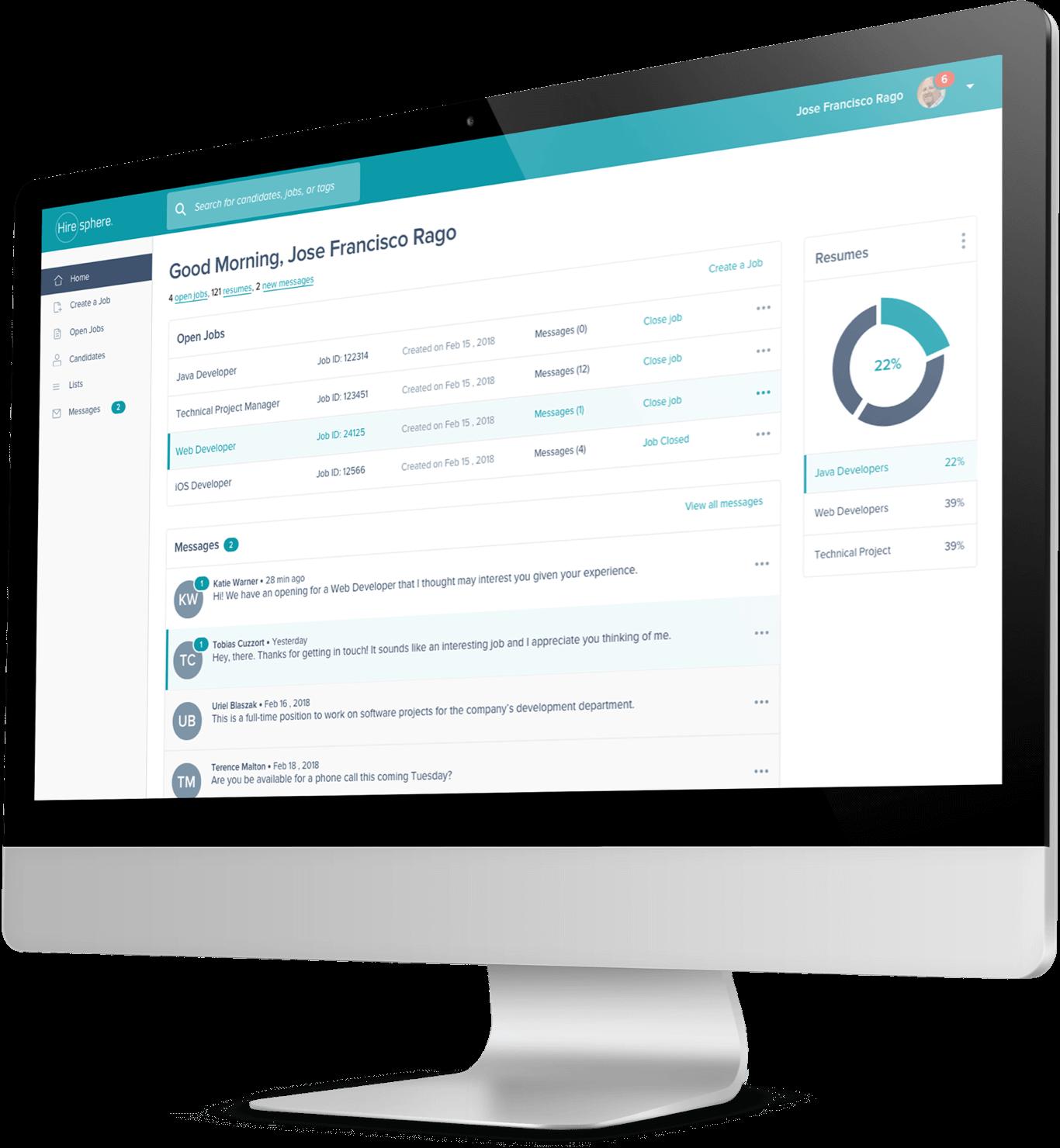 Screenshot of HireSphere's artificial intelligence platform shown on a desktop