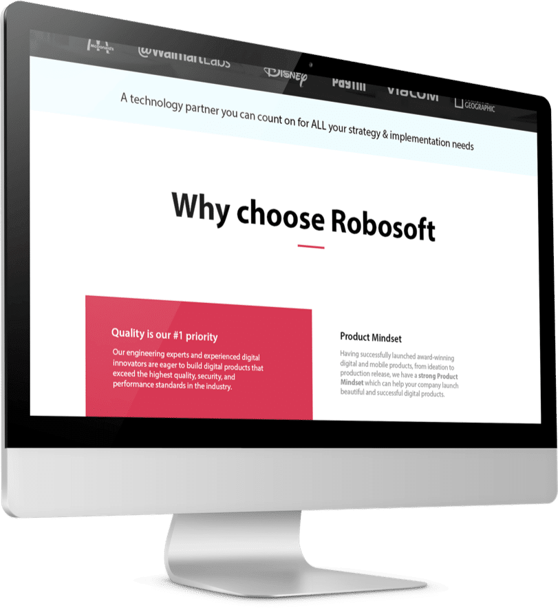 Page on Robosoft Technologies site displayed on desktop