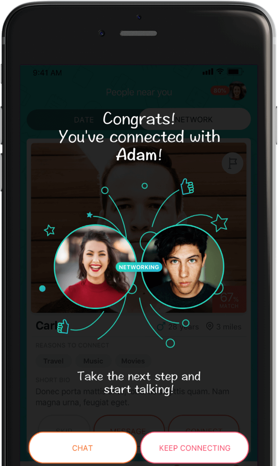 Matching dating profiles on AIVA app shown on a mobile phone