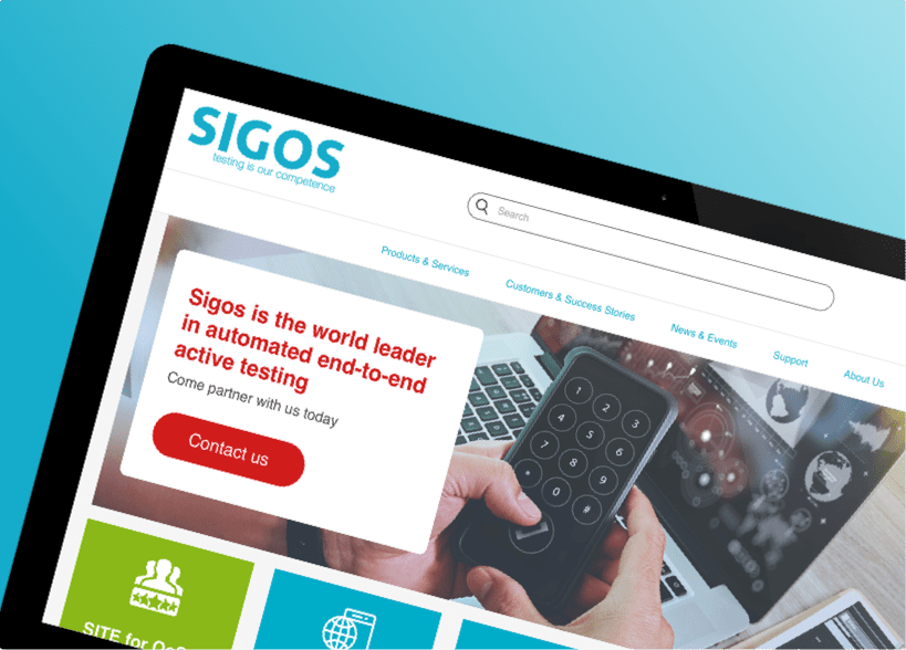 Sigos website shown on a tablet