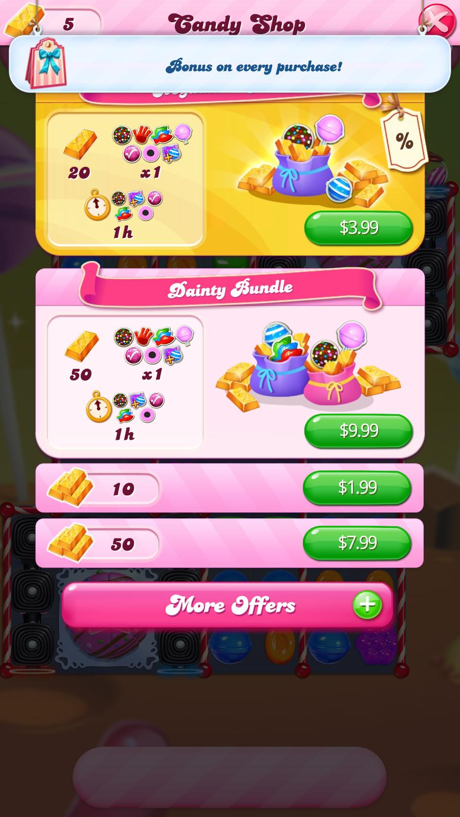 A screenshot of in-app purchase options for Candy Crush Saga