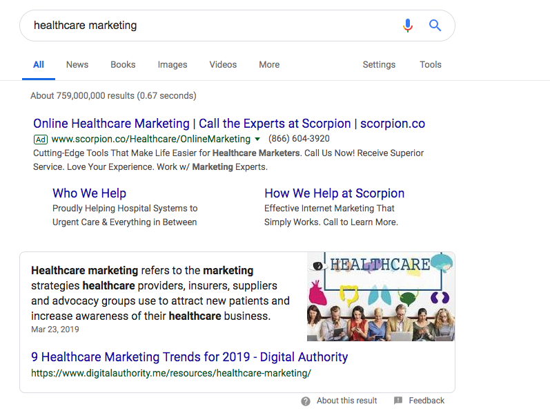 Screenshot of Google Search results for Healthcare Marketing.