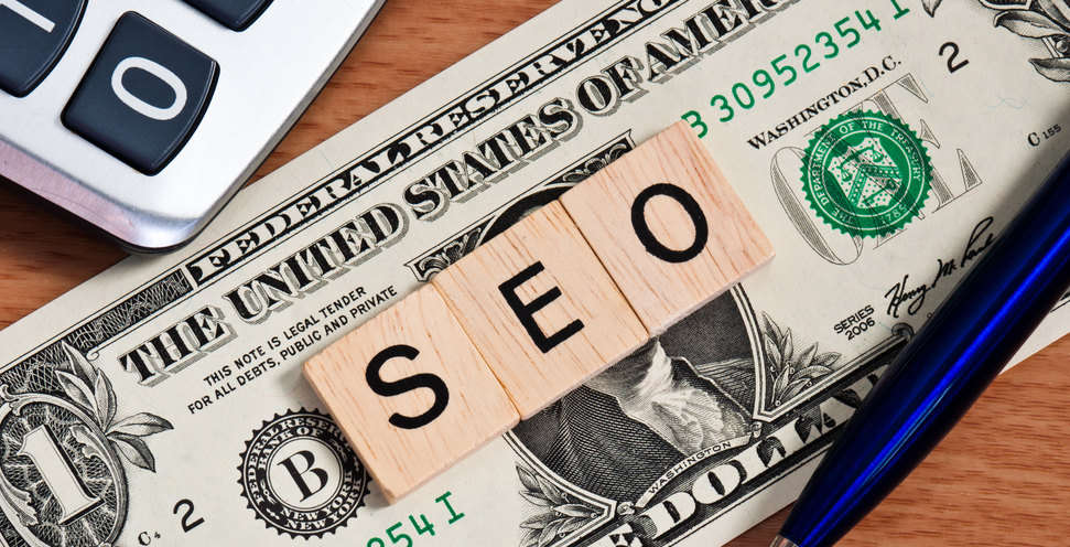 "A one dollar bill with tiles on top of it spelling ""SEO"""