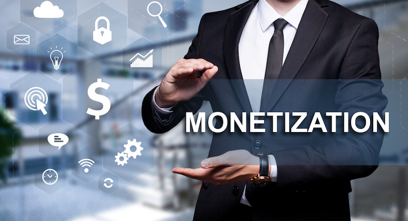 "Man displaying the word ""Monetization"" with icons next to him."