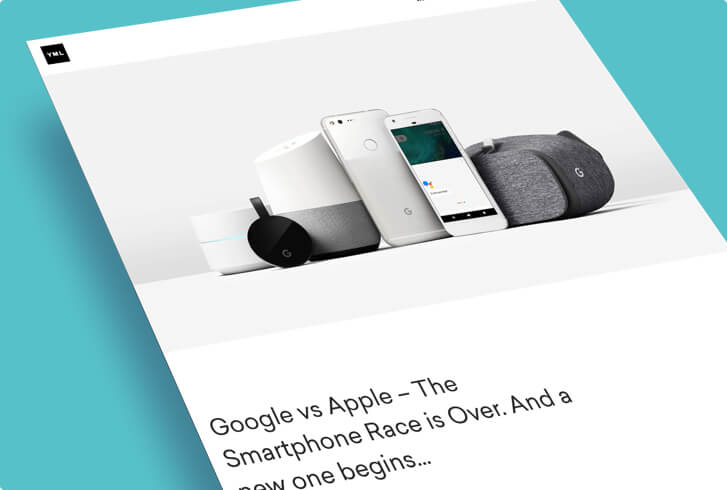 Screen shot of an article about Google and Apple