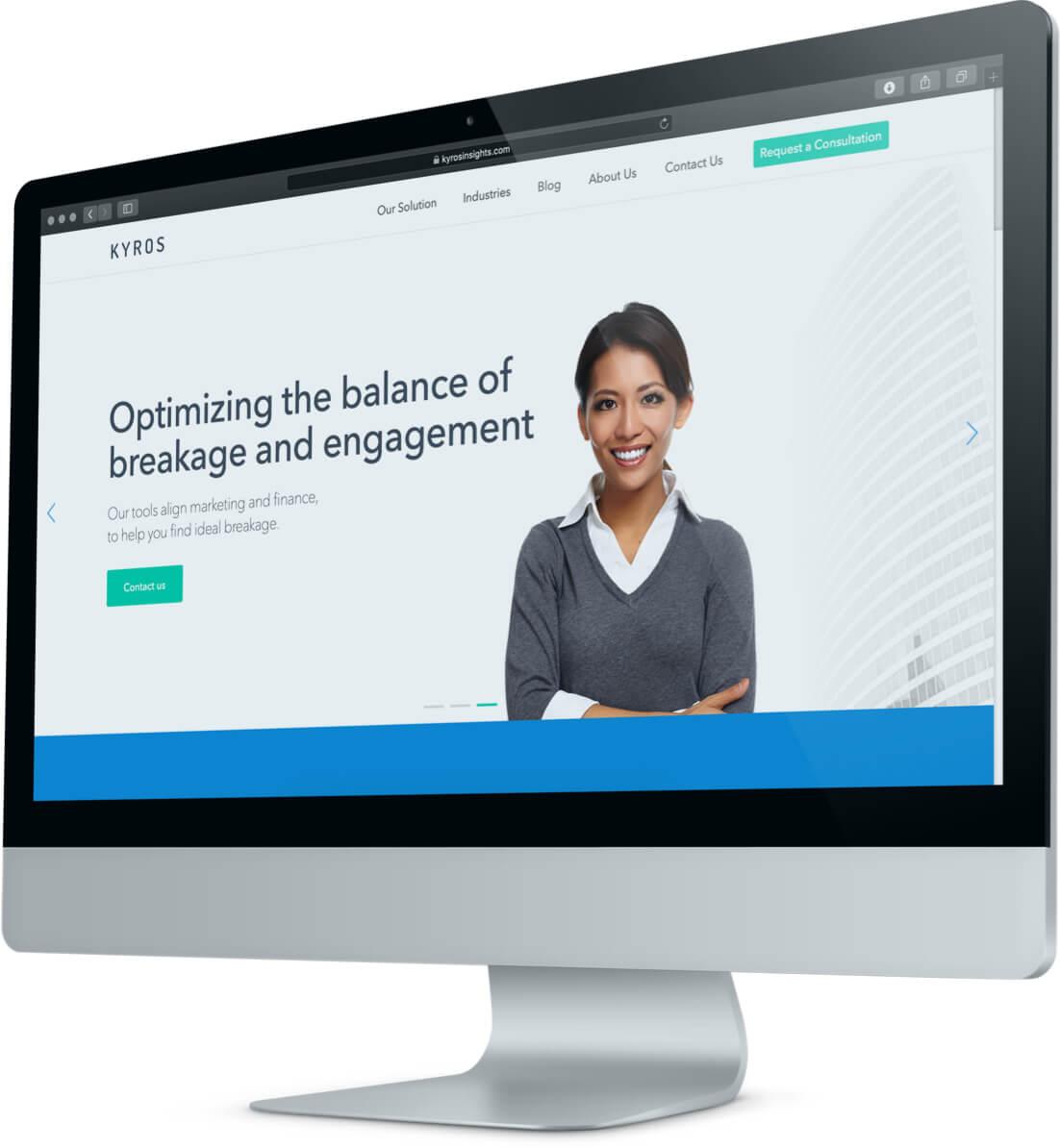 Kyros' website shown on a desktop