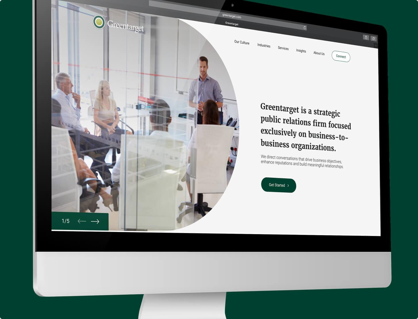 Greentarget's website shown on a desktop