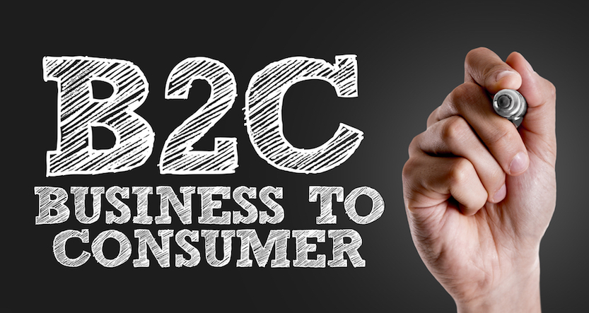 "Hand writing ""B2C Business To Consumer"" on a blackboard"