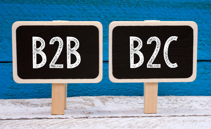 "Signs with the words ""B2B"" and ""B2C"" written on them"
