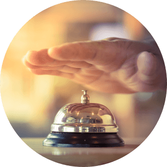 Hand ringing a service bell.