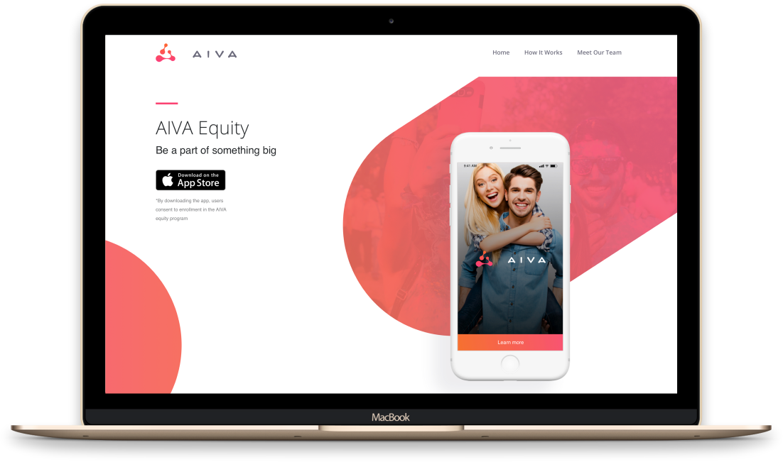 AIVA dating app shown both on mobile and on desktop.