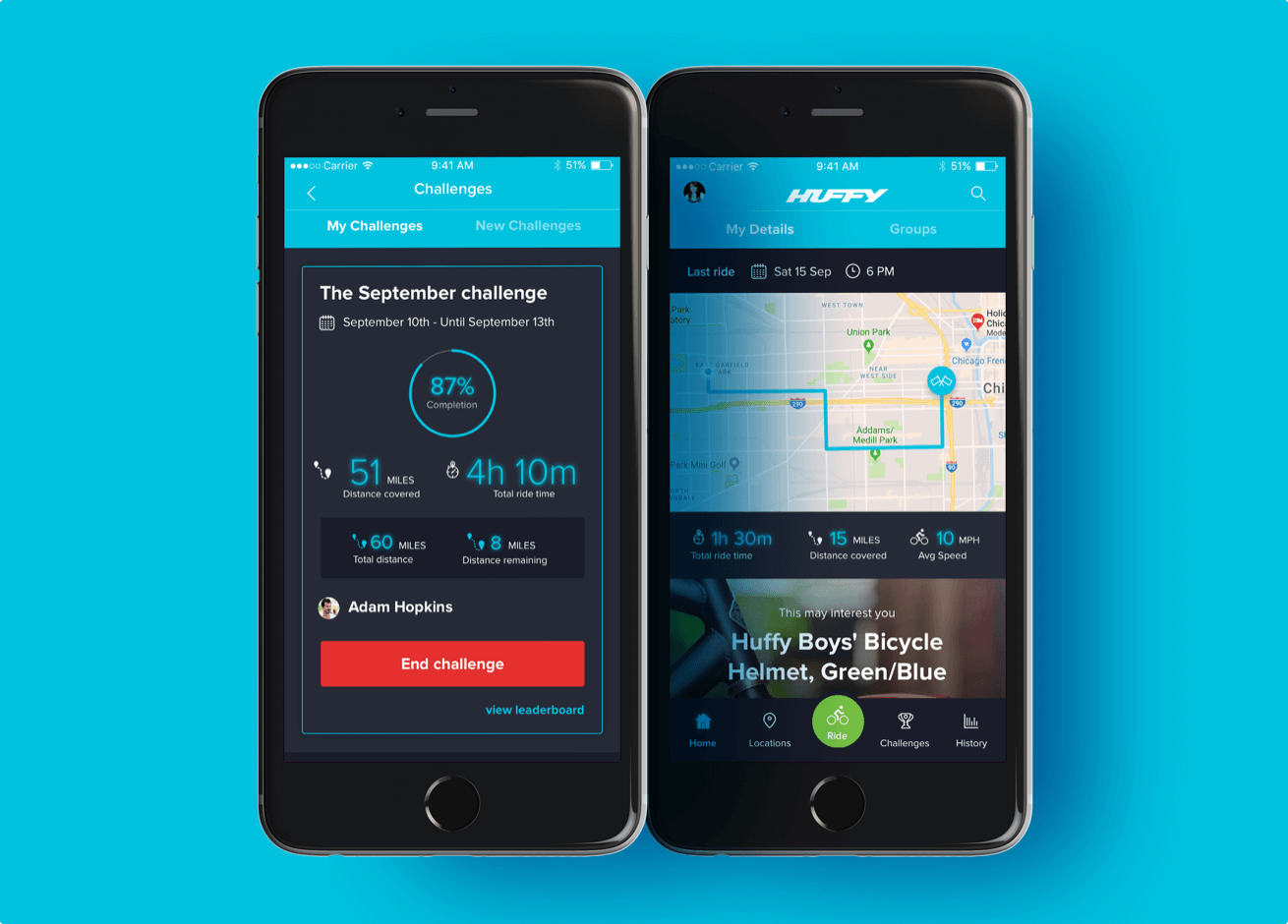 The Huffy app shown on two mobile device