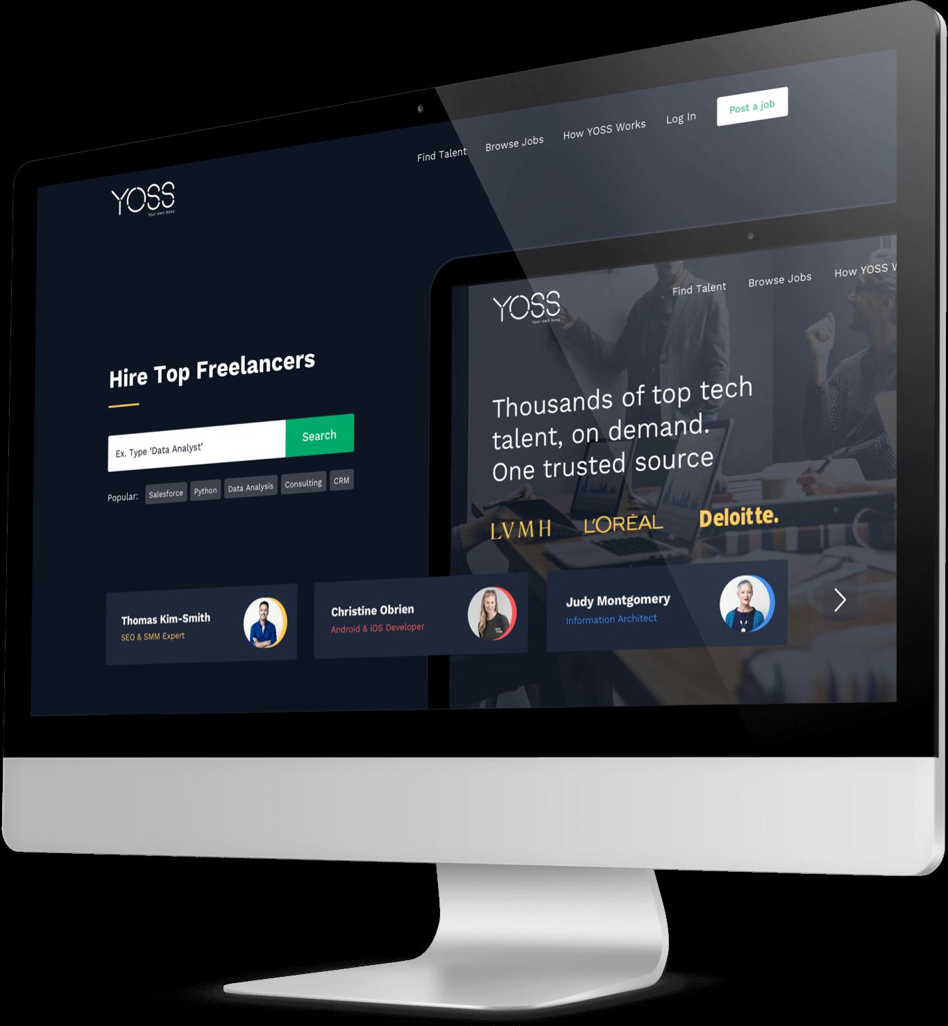 Yoss' website displayed on desktop