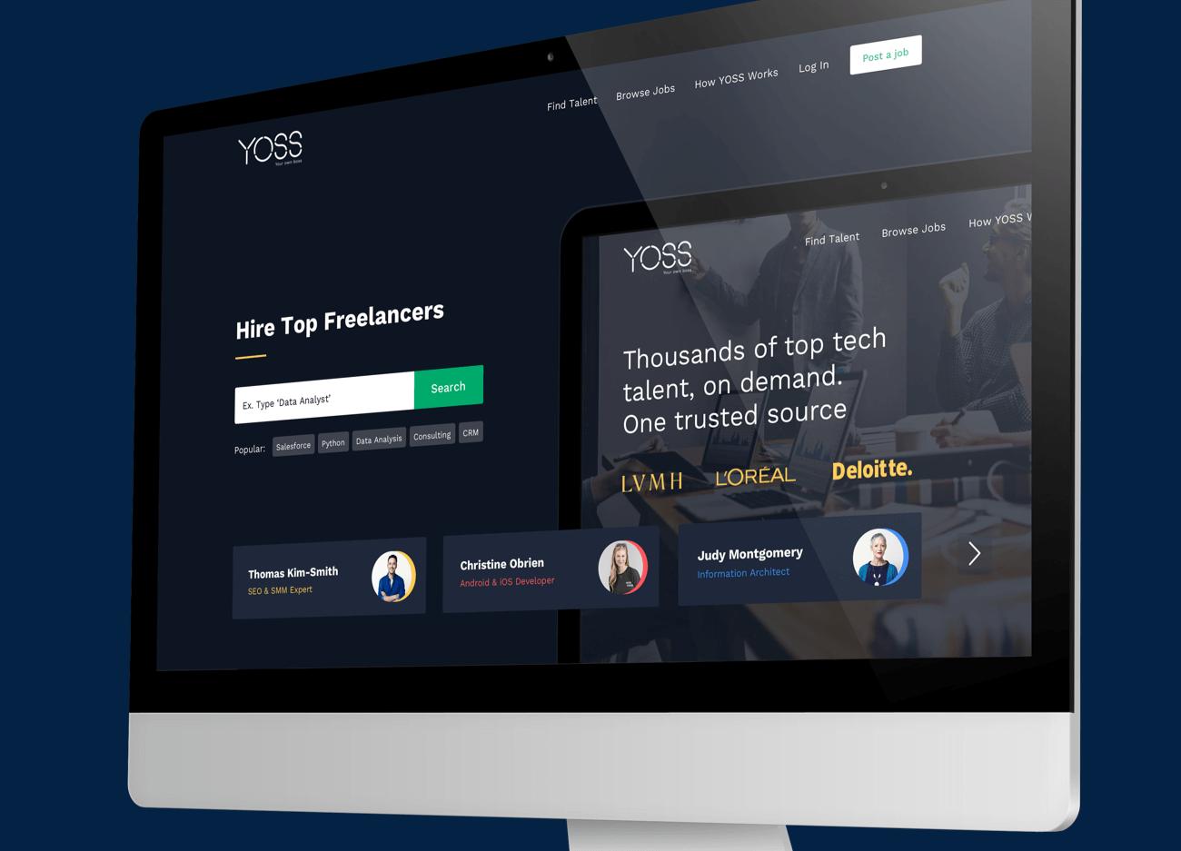 The Yoss website shown on a desktop.