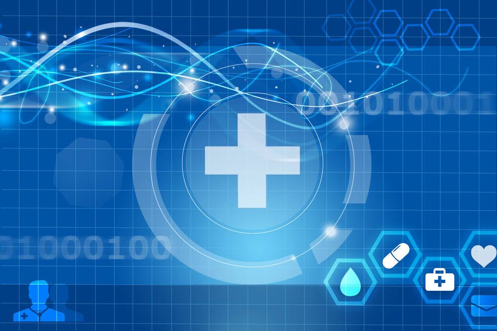 Digitalized healthcare cross symbol on a blue background