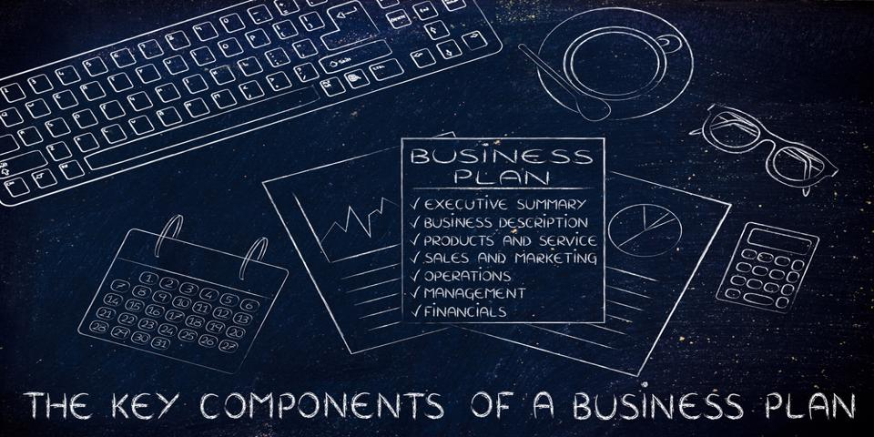 Business plan scribbled on blackboard