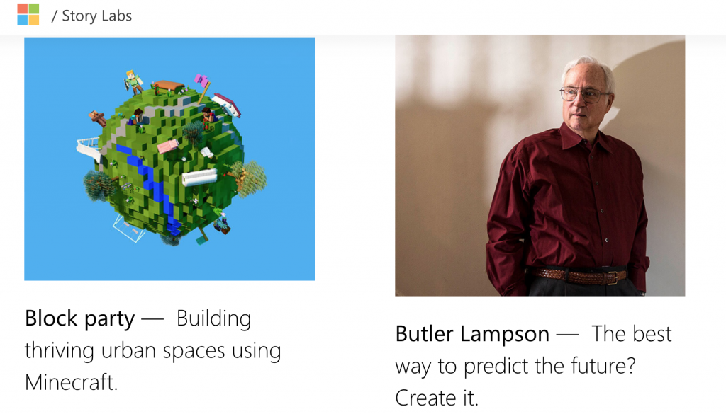 Screenshot of Microsoft's Story Labs