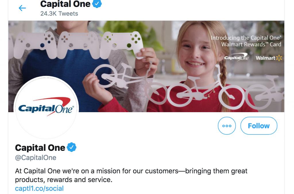 Screenshot of Capital One's Twitter account