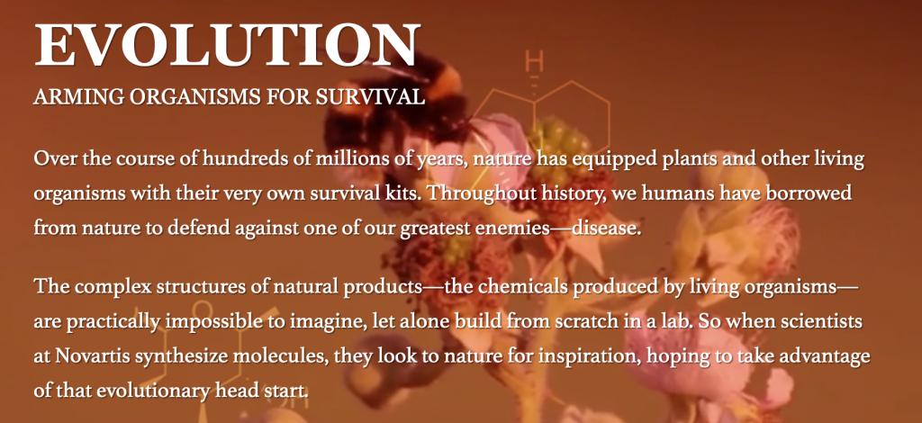 Screenshot of Novartis' website