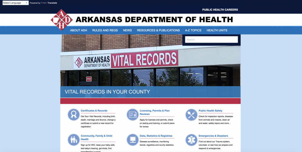 Screenshot of a healthcare website with poor website taxonomy