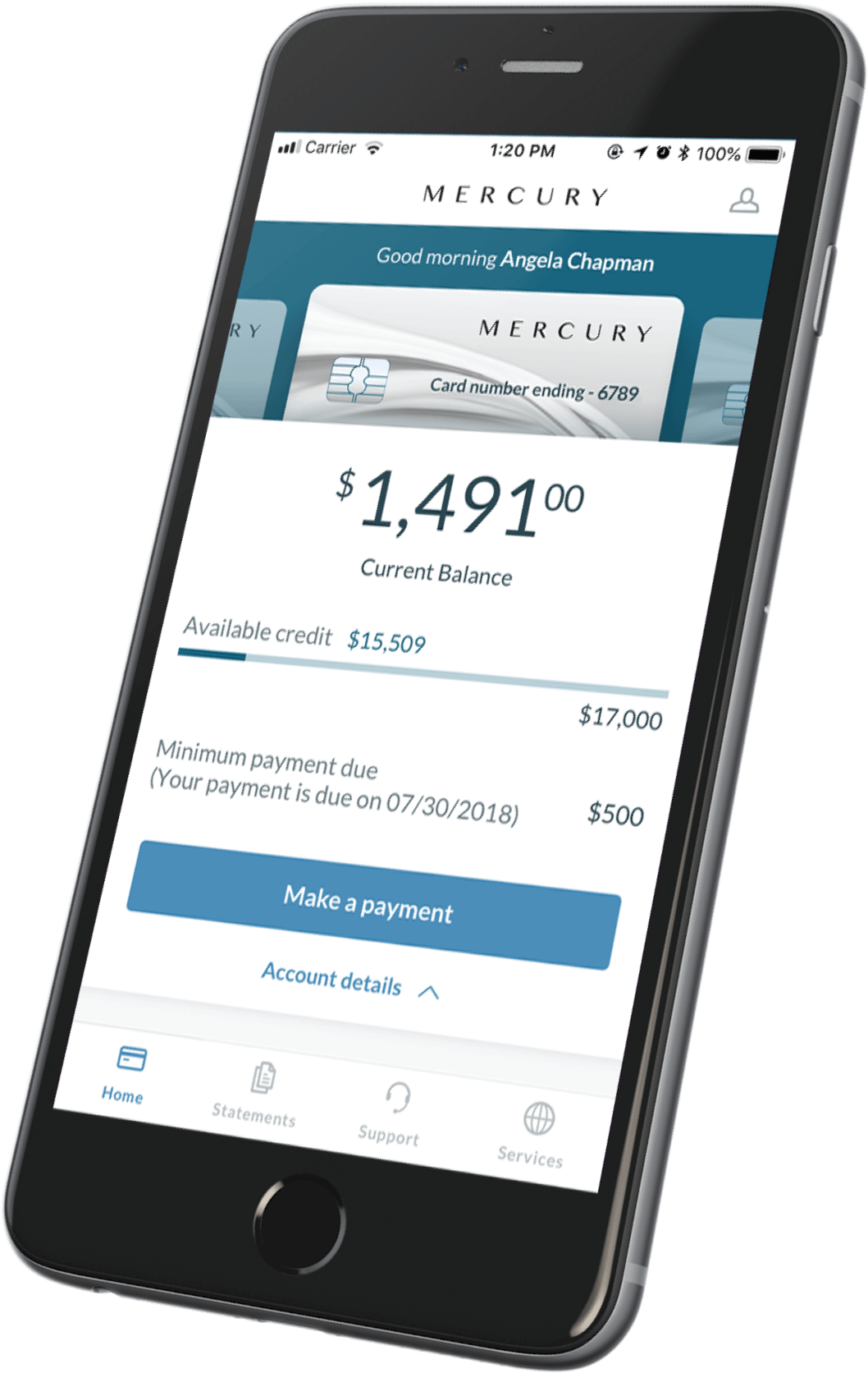 Financial app CreditShop shown on a mobile device